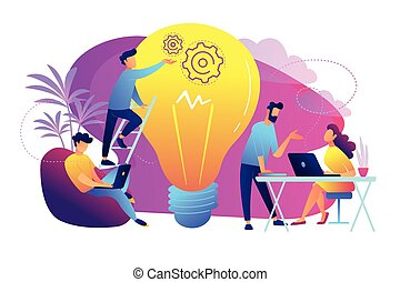 概念, coworking, ベクトル, illustration.