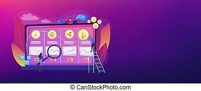 概念, cryptocurrency, ヘッダー, 取引, 机, 旗