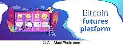 概念, cryptocurrency, 旗, ヘッダー, 取引, 机