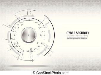 概念, cyber, バックグラウンド。, デジタル, セキュリティー, 白