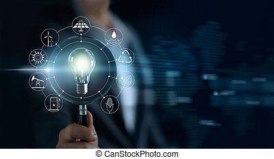 概念, development., 消費, ショー, ライト, エネルギー, 世界的である, 世界, ガラス, 源, 回復可能, エコロジー, 保有物, 電球, 支持できる, アイコン, 人, 拡大する
