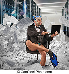 概念, digitization, データベース, ペーパー, uploads, digital., ビジネスマン, 文書