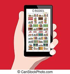 概念, e, screen., 図書館, 手, ベクトル, 本, 事実上, 人間, 読者, e 本