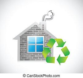 概念, eco, 家, 印。, リサイクルしなさい, 味方