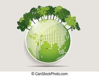 概念, eco, 樹。, 插圖, 矢量, 生態學, friendly.