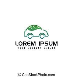 概念, eco, 自動車, デザイン, テンプレート, ロゴ