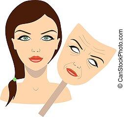 概念, face., マスク, イラスト, 顔, ベクトル, 女の子, 年を取った, rejuvenation.