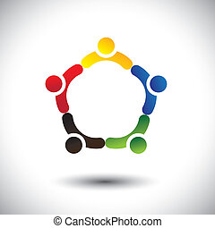 概念, friendship-, 人々, &, 統一, vect, 共同体, 団結