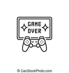 概念, gamepad, tv, 上に, ゲーム, ベクトル, icon., シンボル