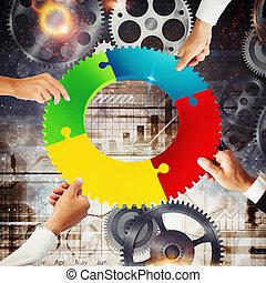 概念, gear., 統合, レンダリング, 接続, チームワーク, 3d