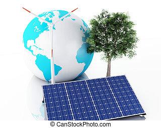 概念, globe., eco, エネルギー, 地球, 3d