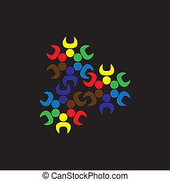 概念, graphic-, 労働者, 子供, ∥あるいは∥, ge, ベクトル, チーム, 抽象的