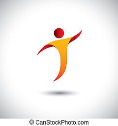 概念, graphic., 运动, aerobics, 旋转, 人 , -, 同时, 跳舞, 瑜伽, 跳舞, 描述, ...