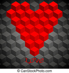 概念, heart., illustration., 几何学, 选择, 矢量, 最好