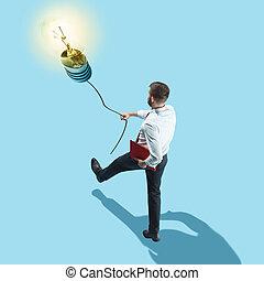 概念, idea., ランプ, 行く, 新しい男
