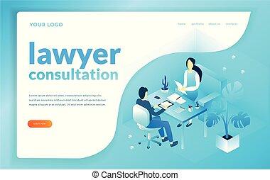 概念, illustration., オフィス, 相談, 弁護士, worker., jurist