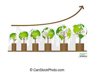 概念, illustration., グラフ, business., 環境, 成長する, ベクトル, 緑, 支持できる...