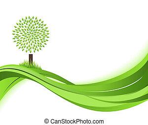 概念, illustration., 自然, eco, 抽象的, バックグラウンド。, 緑