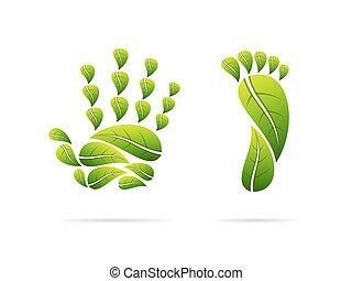概念, illustration., 葉, icons., 手, 生態学的, ベクトル, フィート, shaped.