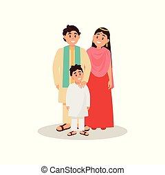 概念, indian, 家族, 国民, 衣服, イラスト, ベクトル, 背景, 白, 幸せ