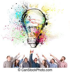 概念, lamp., 会社, 始動, 考え, 示しなさい, ブレーンストーミング, ビジネスマン