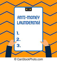 概念, laundering., お金, フレーム, 行動, 反, 青, 不法入国者, 手掛かり, 2, 執筆, クリップボード, 収入, 白, 持つ, 長方形, 発生, ビジネス, 止まれ, 規則, hands., 単語, 穴, テキスト, によって