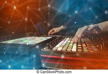 概念, midi, 手, 连通性, 控制器, 音乐, 混合