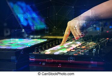 概念, midi, 音乐, 混合, 多媒体, 手, 玩, 控制器