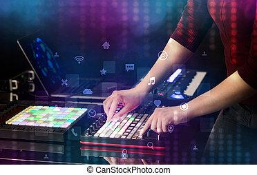 概念, midi, 音乐, 混合, 手, 社会, 媒介, 控制器