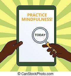 概念, mindfulness., 乗り換えた, テキスト, リラックス, 感触, 瞑想, 拡大する, 執筆, 州, 保有物, 目的を達しなさい, 形態, tablet., スクリーン, 練習, ガラス, 意味, 手, 離れて, に対して, 手書き