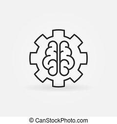 概念, outline, ai, 元素, 脑子, 设计, 齿轮, 或者, 图标