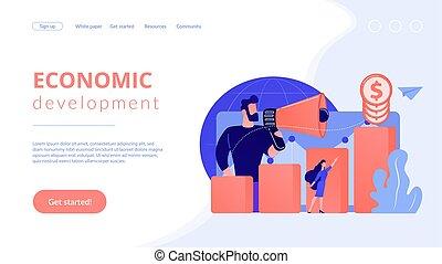 概念, page., 着陸, 開発, 経済