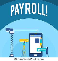 概念, payroll., テキスト, 会社, employees., salaries, 執筆, 意味, 支払われた, 手書き, 合計, ∥そ∥