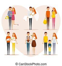 概念, poster., 家族, 人々, 新生, design., スタイル, 進歩, 日付, 幸せ, 平ら, 生活, 恋人, 最初に, 結婚式, 妊娠, 特徴, 漫画, relationships., 赤ん坊, ベクトル, 段階, parents.