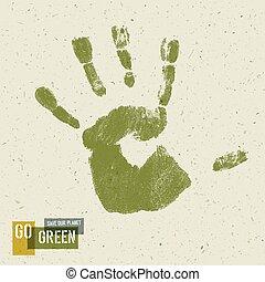 概念, poster., ve, handprint, リサイクルされる, ペーパー, 緑, 行きなさい, 手ざわり