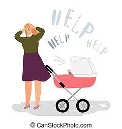 概念, postnatal, 憂うつ