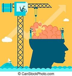 概念, puzzle., 創造的, 脳, 背景, 人