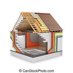 概念, render, プロセス, 家, 熱, 断熱材, construction., 3d