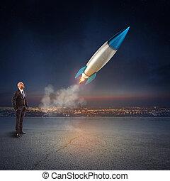 概念, rendering., 会社, 始動, business., 始めなさい, 顔つき, ビジネスマン, 新しい, missile., 3d