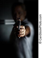 概念, rob, お金。, 銃, 届く, picture., おもちゃ, 人