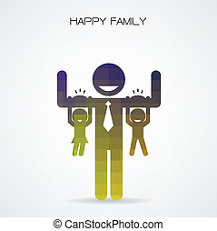 概念, 's, 家族, こつ, 楽しみ, 息子, 腕, お父さん, 持つこと, 日, 幸せ