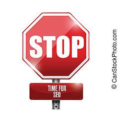 概念, sep, 插圖, 簽署, 停止, 時間, 路