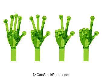 概念, set., 生態學, 綠色, 手, 設計, 你