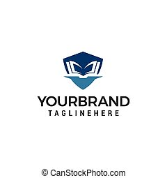 概念, shiled, ベクトル, デザイン, テンプレート, ロゴ, 教育
