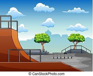 概念, skatepark, 背景, 都市