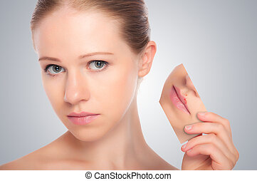 概念, skincare, ., 皮膚, の, 美しさ, 若い女性, ∥で∥, ヘルペス, 上に, 唇, 赤み, 皮膚, 問題, ニキビ, 発疹, 上に, a, グレーのバックグラウンド