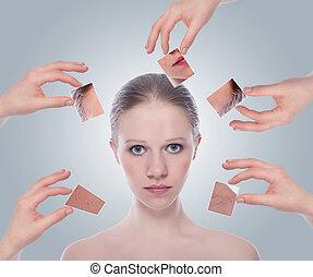 概念, skincare, ., 皮膚, の, 美しさ, 若い女性, before.and.after, ∥, プロシージャ, 上に, a, グレーのバックグラウンド