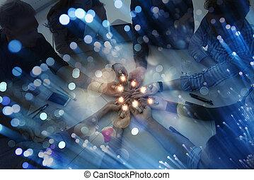 概念, startup., lamp., 分け前, 考え, ブレーンストーミング, ビジネスマン, チームワーク