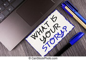 概念, storytelling, テキスト, ラップトップ, 付せん, を過ぎて, ペーパー, あなたの, 何か, 個人的, マーカー, 執筆, メモ, 書かれた, 白, ビジネス, question., 物語, 経験, 背景, 言うこと, 単語, 木製である