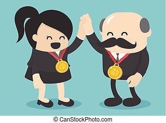 概念, success., ビジネス, 成功した, medalists., 女性, 金, 持つ
